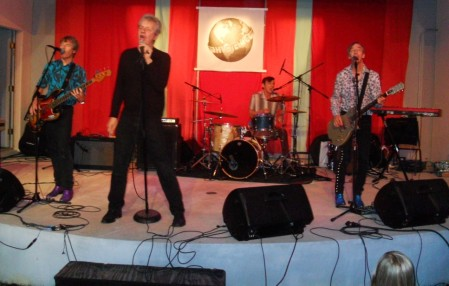 The Fleshtones in action -- they're never at rest -- this past Saturday at Sailfest, at the Hygienic Art Park in New London, CT. From left: Ken Fox, Peter Zaremba, Bill Milhizer and Keith Streng.