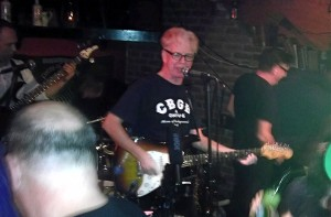 Larry Kirwan and Geoff Blythe, a dozen feet from the end of the bar at Paddy Reilly's.